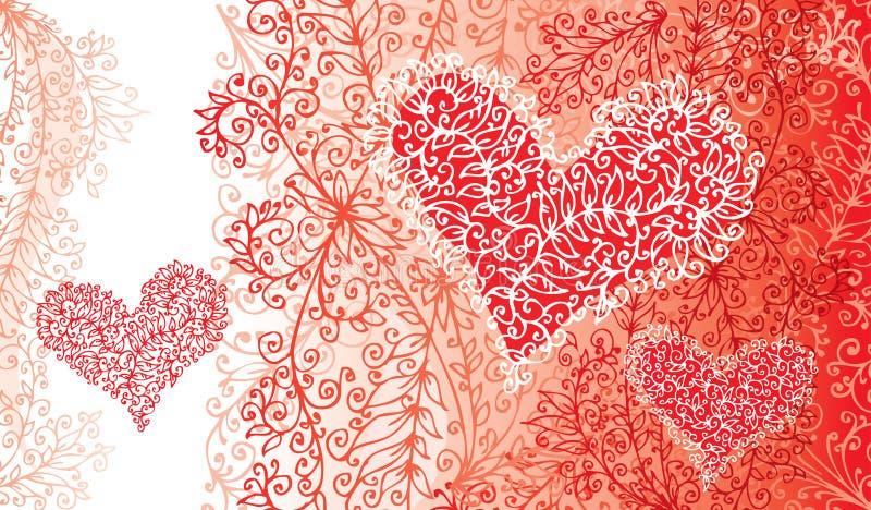 St. Valentine Love Red Heart Card ilustración del vector
