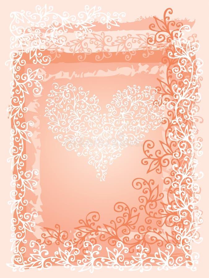 St Valentine Love Red Heart Card III illustration de vecteur