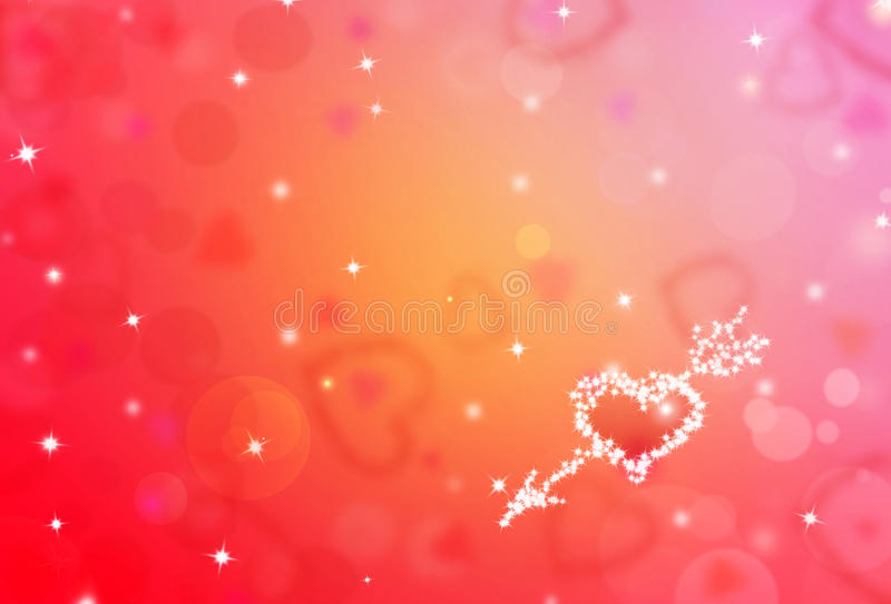St.Valentine red background with shining heart shape stars. And bokeh stock illustration