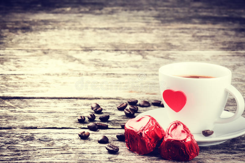 St Valentine's breakfast with coffee and chocolate stock photography