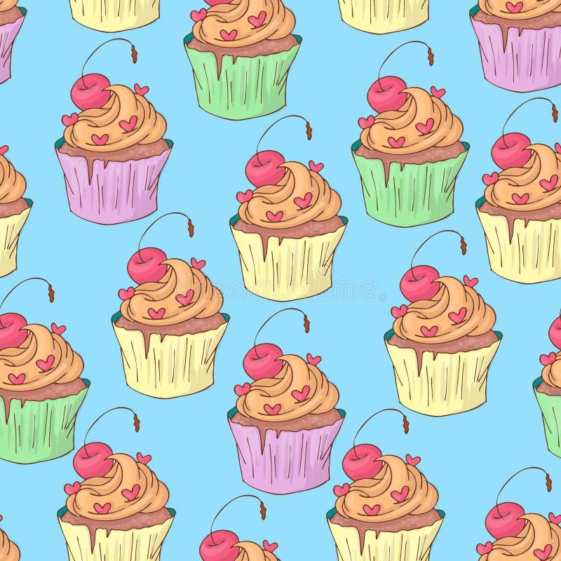 St Valentine s Dag naadloos patroon met cupcakes Vector illustratie vector illustratie