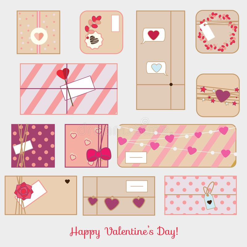 St Valentine`s day gift boxes. Romantic, love presents set. vector line icons royalty free illustration