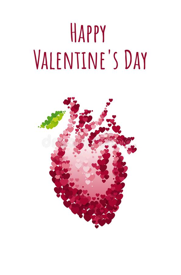 St Valentine`s day greeting card with anatomical human heart. Vector illustration collection stock illustration