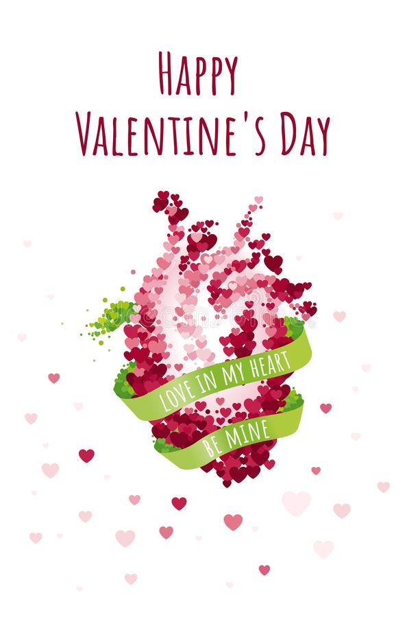 St Valentine`s day greeting card with green band and anatomical human heart. Vector illustration collection royalty free illustration