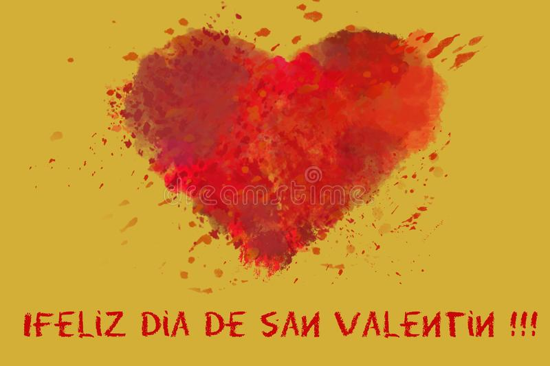 St. Valentine`s day greetings postcard. Lover`s day. Red watercolor heart on golden background vector illustration