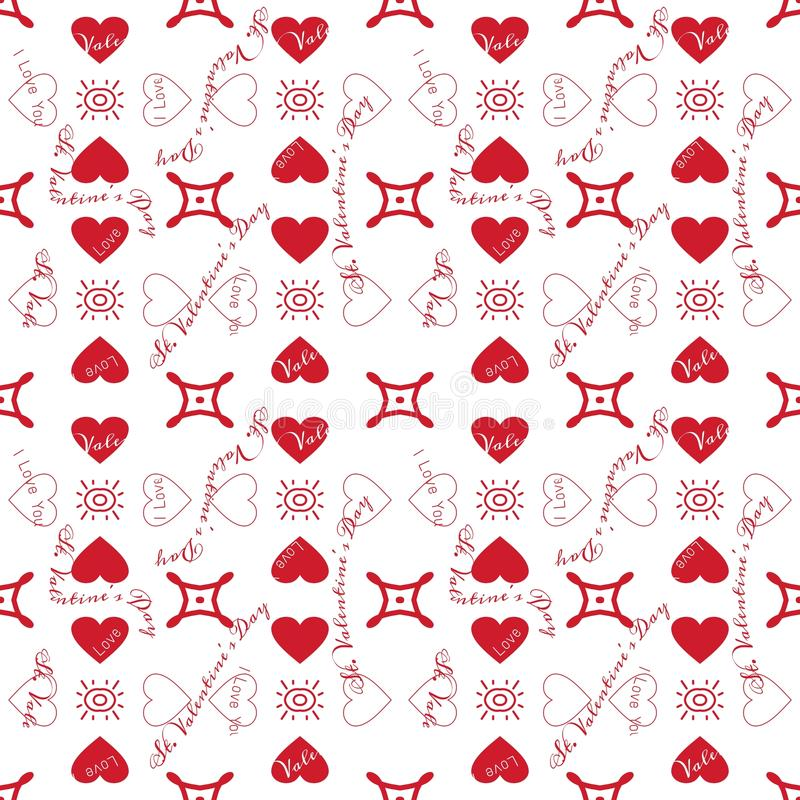 St. Valentine's Day. Pattern with red hearts on white background royalty free illustration