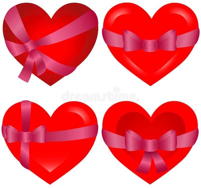 St. Valentine`s Hearts Bonded With Pink Ribbon Royalty Free Stock Images
