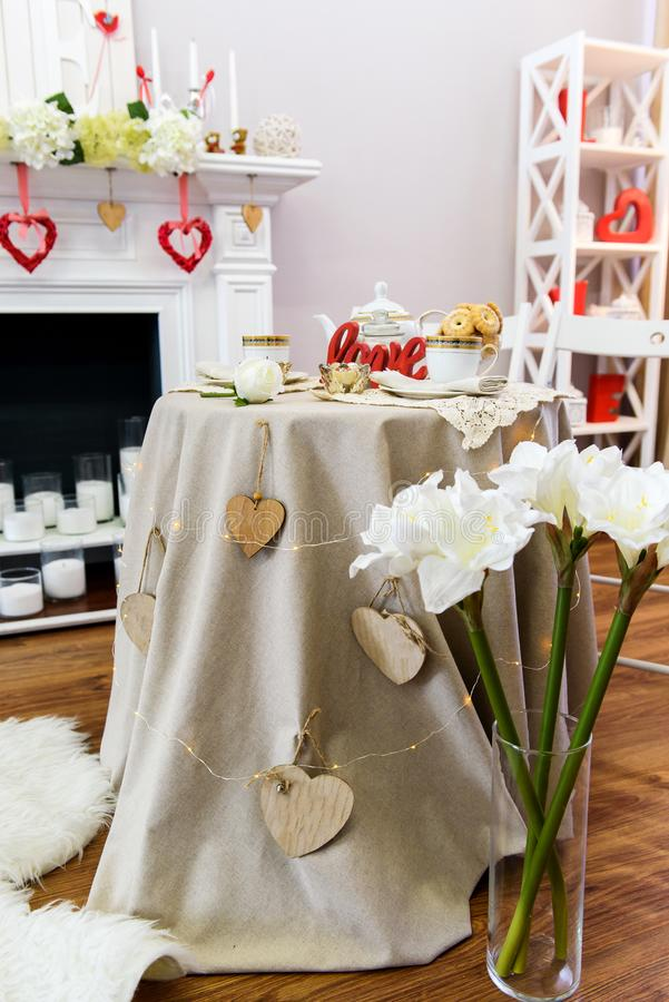 St. Valentines Day decorated table stock photos