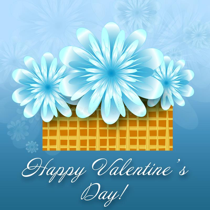 St.-Valentinsgruß-Blumenkarte vektor abbildung