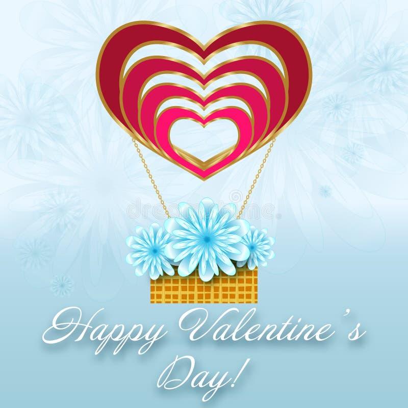 St.-Valentinsgruß-Blumenkarte mit Ballon von Herzen stock abbildung