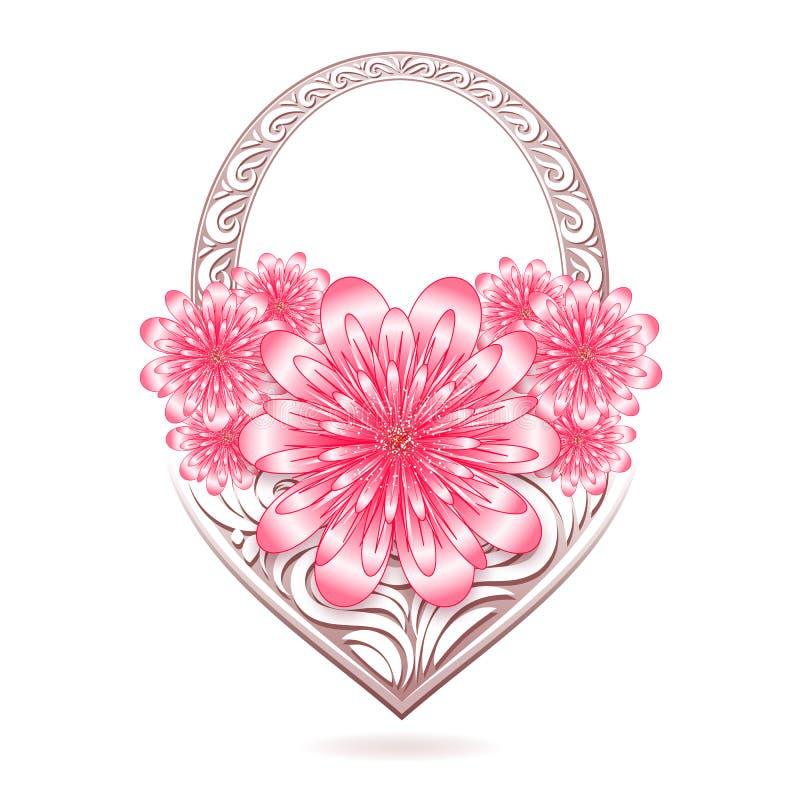 St.-Valentinsgruß-Blumenkarte mit stilisiertem Korb lizenzfreie abbildung