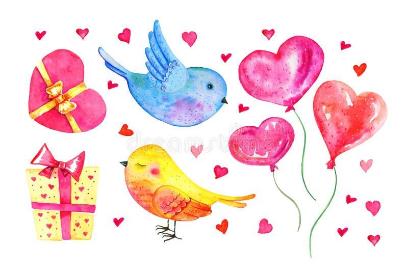 St.-Valentinstag-Elementsatz Karikaturvogelpaare, Herzballone, Geschenkboxen Hand gezeichnete Aquarellillustration vektor abbildung