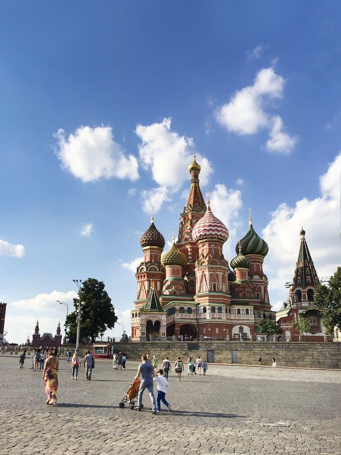St van de interventiekathedraal Basilicum bij Rood Vierkant in Moskou Rusland royalty-vrije stock foto