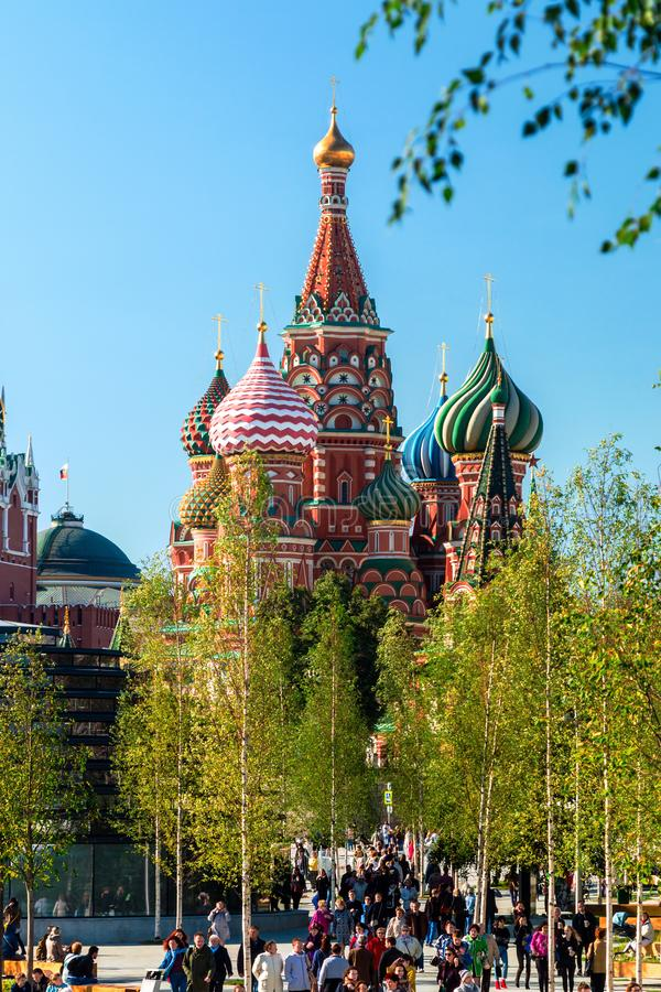 St van de Pokrovskykathedraal Basilicum ` s en Moskou het Kremlin van de Pa stock afbeeldingen