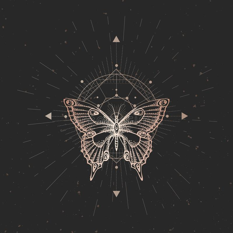 Vector illustration with hand drawn butterfly and Sacred geometric symbol on black vintage background. Abstract mystic sign. royalty free illustration