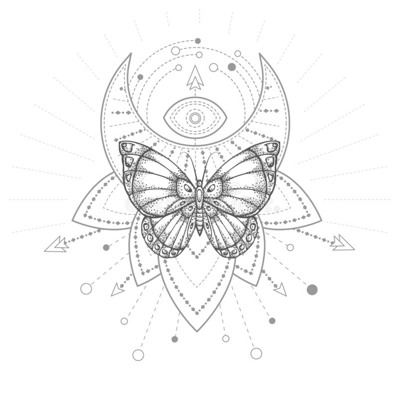Vector illustration with hand drawn butterfly and Sacred geometric symbol on white background. Abstract mystic sign. Black linear shape. For you design, tattoo stock illustration