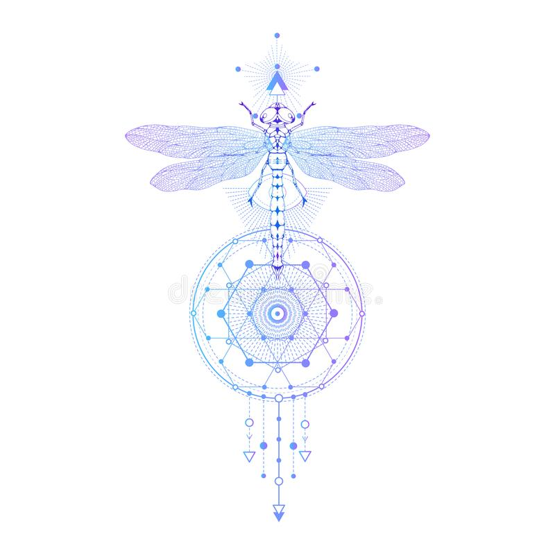 Vector illustration with hand drawn dragonfly and Sacred geometric symbol on white background. Abstract mystic sign. Colored linea vector illustration