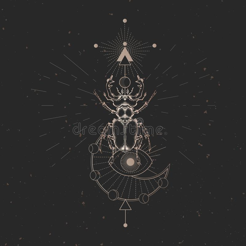 Vector illustration with hand drawn stag beetle and Sacred geometric symbol on black vintage background. Abstract mystic sign. Gol. D linear shape. For you royalty free illustration