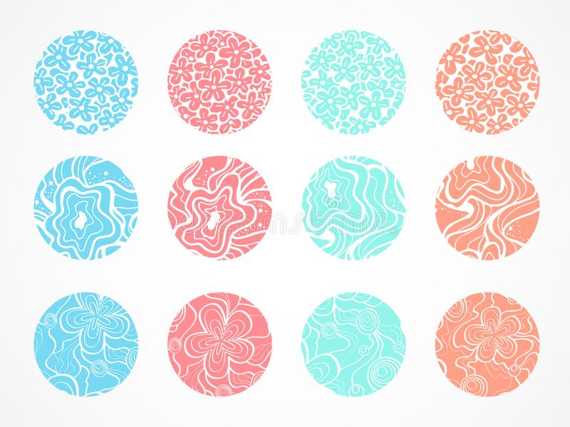 Vector set of decorative round backgrounds with floral and abstract pattern. Elements for design. Colored royalty free illustration