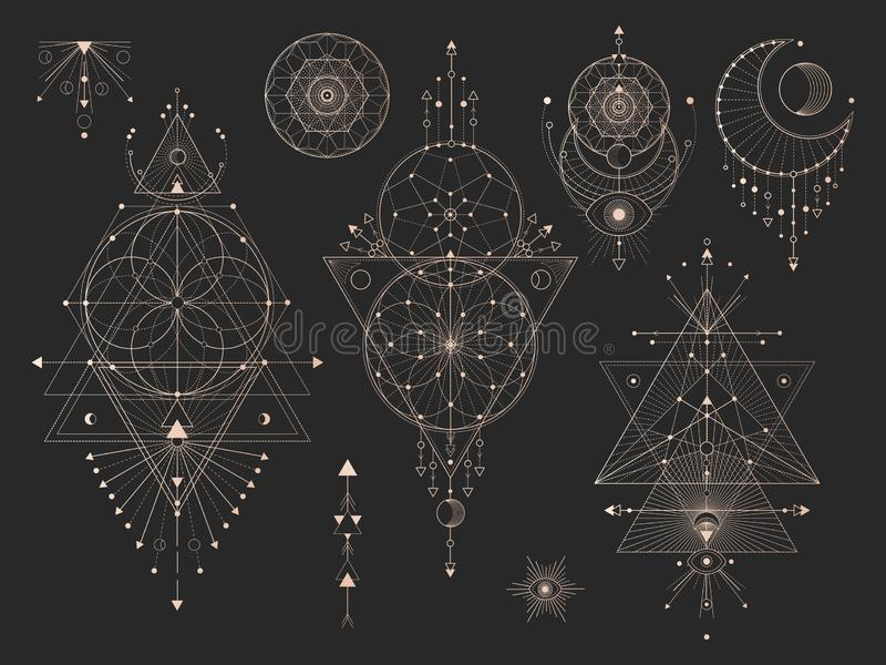 Vector set of Sacred geometric symbols with moon, eye, arrows, dreamcatcher and figures on black background. Gold abstract mystic vector illustration