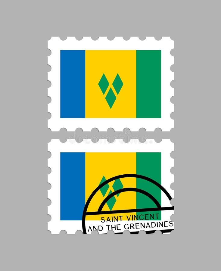 St. Vincent und die Grenadinen Flagge auf Briefmarke stock abbildung