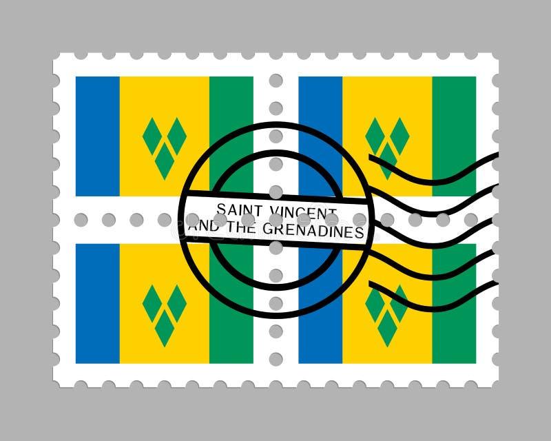 St. Vincent und die Grenadinen Flagge auf Briefmarke vektor abbildung