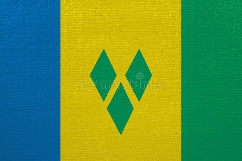 St. Vincent und die Grenadinen Flagge auf Segeltuch vektor abbildung