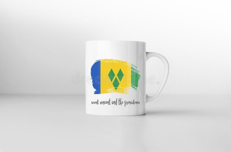 St. Vincent und die Grenadinen Flagge auf weißer Kaffeetasse lizenzfreie abbildung