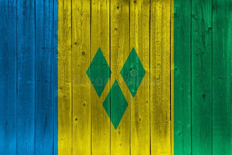 St. Vincent und die Grenadinen Flagge gemalt auf alter hölzerner Planke vektor abbildung