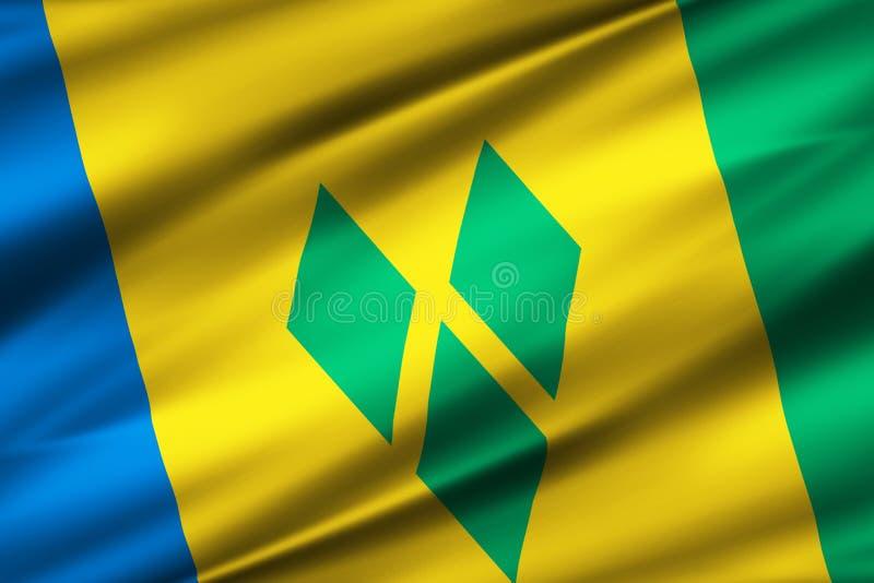 St. Vincent und die Grenadinen Flaggenillustration lizenzfreie abbildung