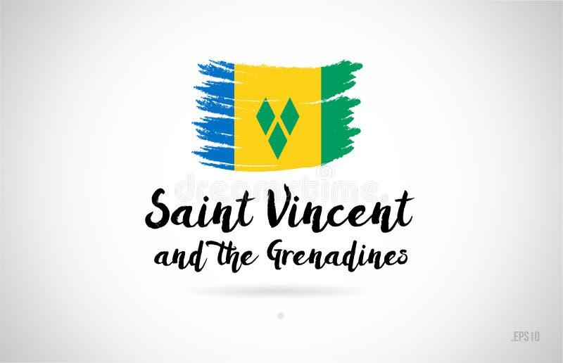 St. Vincent und die Grenadinen Landesflaggekonzept mit grung lizenzfreie abbildung