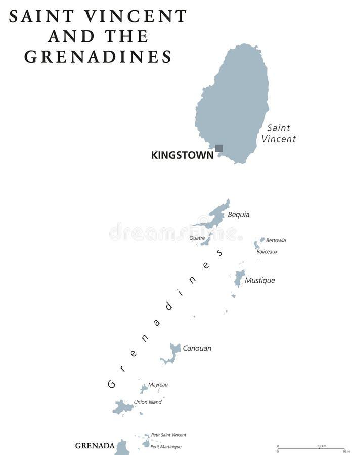 St. Vincent und die Grenadinen politische Karte lizenzfreie abbildung