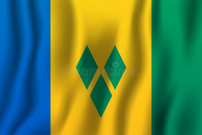 St. Vincent und die Grenadinen realistische wellenartig bewegende Flaggen-Vektorillustration Nationales Landhintergrundsymbol Una lizenzfreie abbildung