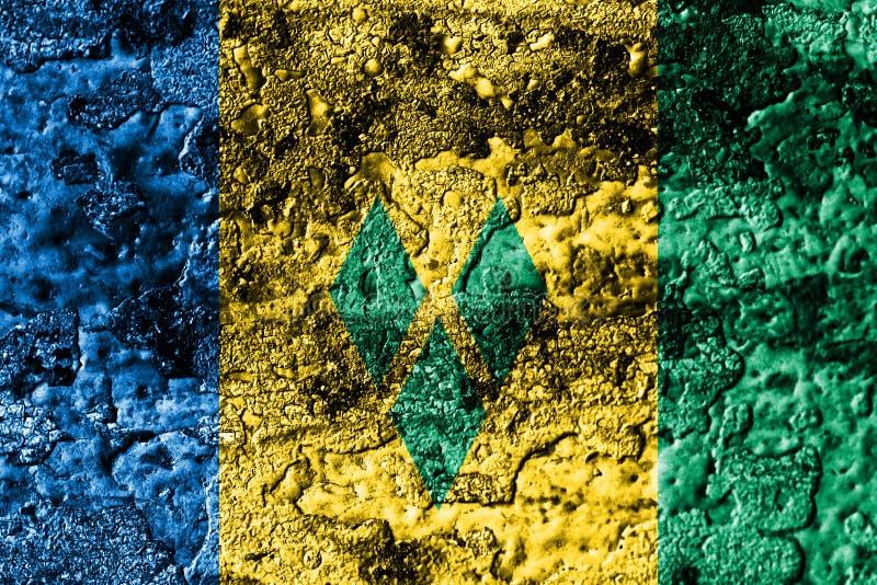 St. Vincent und die Grenadinen Schmutz verrostete Metallbeschaffenheitsflagge, Rostmetallhintergrund vektor abbildung