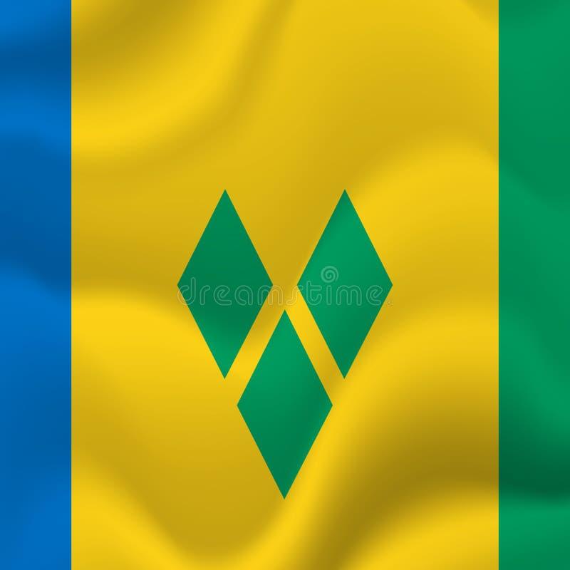 St. Vincent und die Grenadinen wellenartig bewegende Flagge Auch im corel abgehobenen Betrag stock abbildung