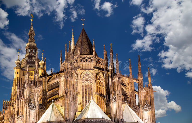 St Vitus大教堂(天主教大教堂)布拉格城堡的,捷克 免版税库存照片