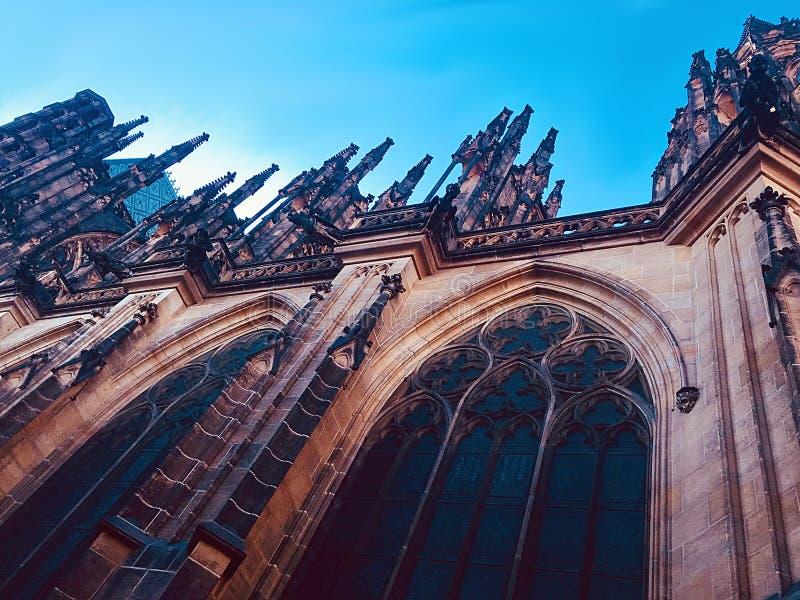 St Vitus大教堂` s尖顶,布拉格 图库摄影