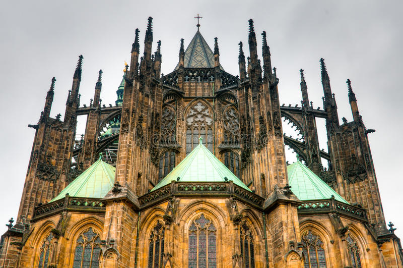 St Vitus Cathedral. Forms the heart of the Prague Castle royalty free stock photo