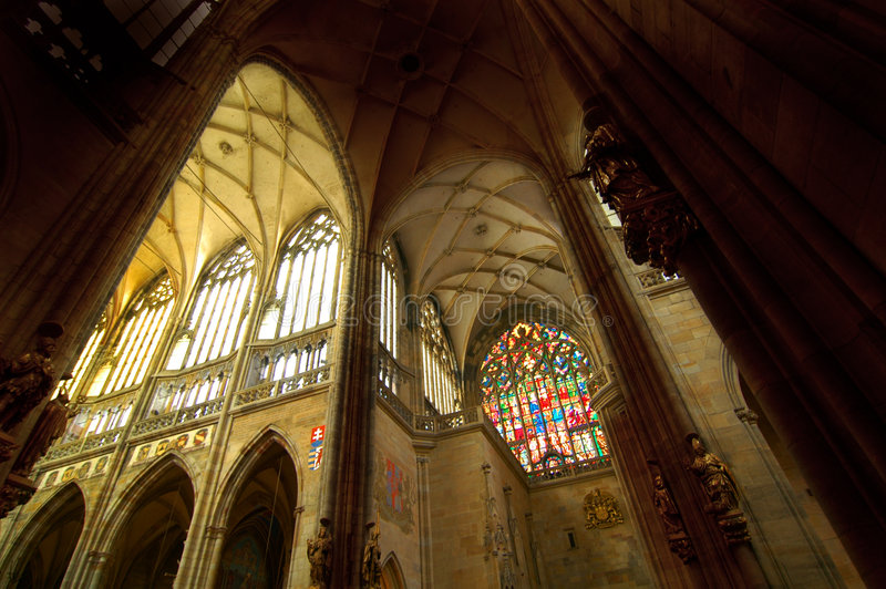 St. Vitus Cathedral 2. Indoor shot of the main arches in St. Vitus Cathedral, in Prague. Built in gothic style in the 14th century by Charles IV, it is the heart stock photography