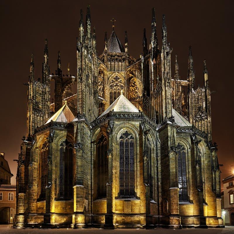 St. Vitus Cathedral Bij Nacht In Praag Stock Afbeelding