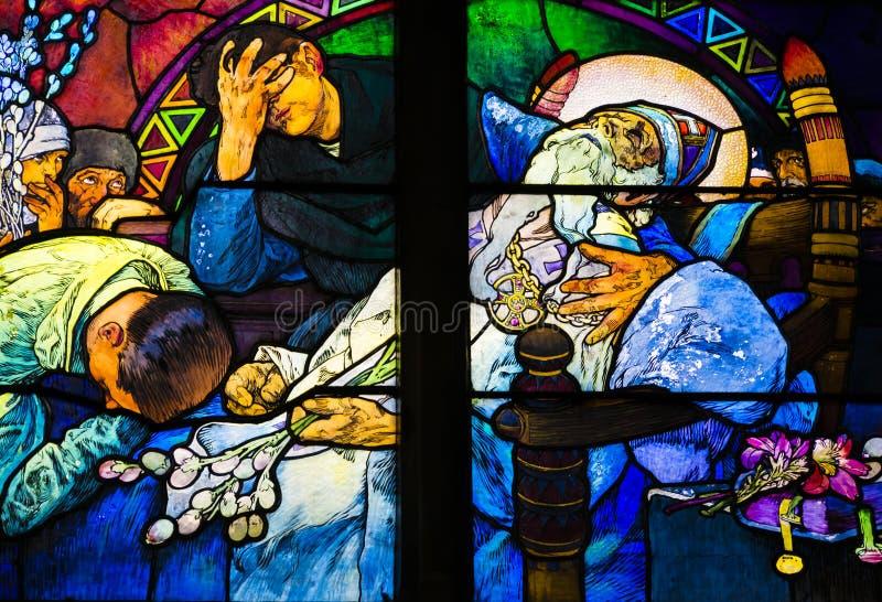 St Vitus Cathedral, castelo de Praga, República Checa - morte de St Methodius foto de stock