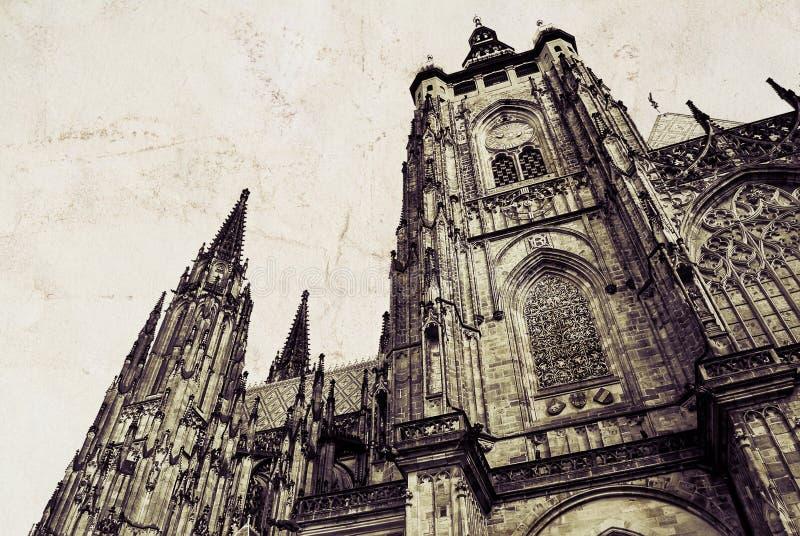 St Vitus Cathedral em Praga Romano gótico - catedral católica no castelo de Praga em República Checa fotografia de stock royalty free