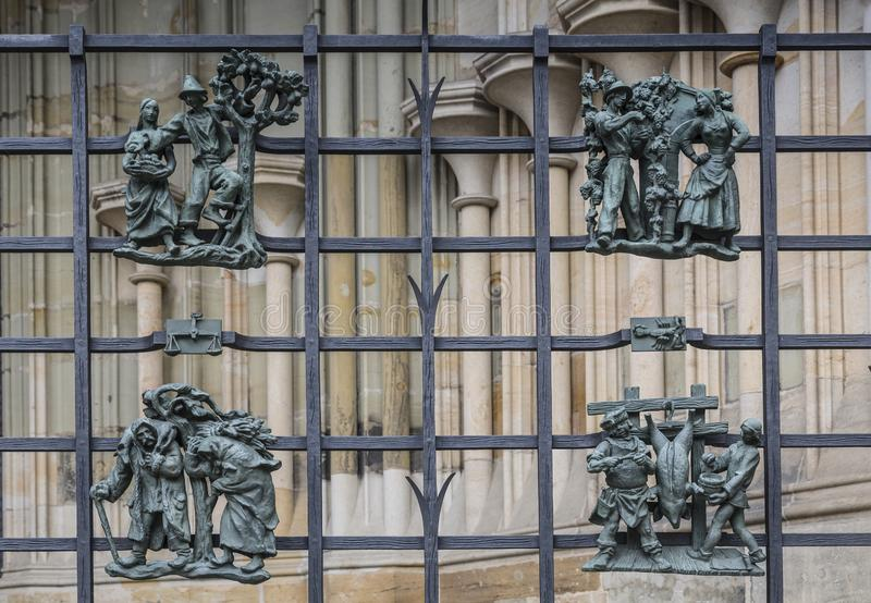 The St. Vitus Cathedral. Exterior. Lattice in front of the Golden gate with the signs of the zodiac. Prague, stock photos