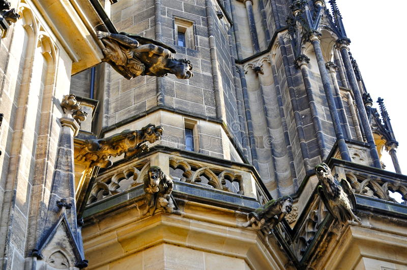 St. Vitus Cathedral Gargoyles, Prague. Gargoyles on the Northern Facade of the Gothic Saint Vitus Cathedral metropolitní katedrála svatého Víta, V royalty free stock image