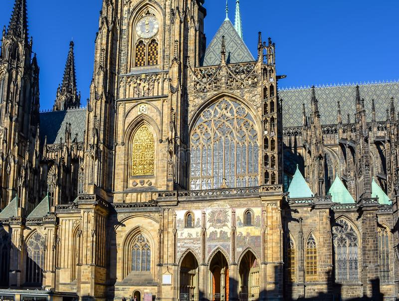 St Vitus Cathedral Golden Portal image stock