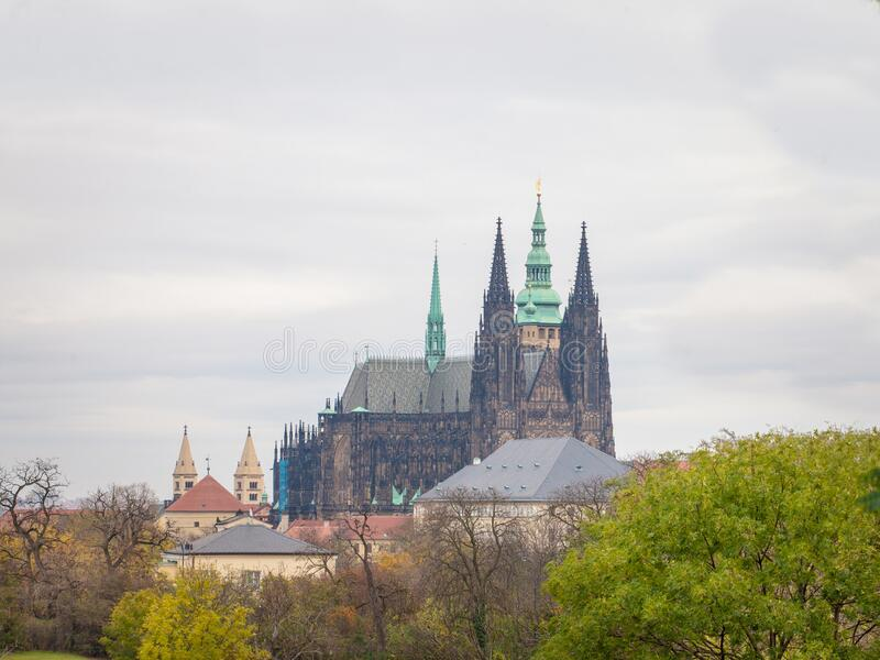 St Vitus Cathedral on hradcany hill, in the prague castle, also called metropolitni katedrala svateho Vita, Vaclava a Vojtecha. It is the main landmark of the royalty free stock photos