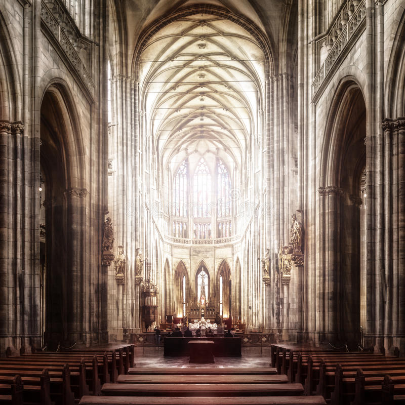 St. Vitus Cathedral in Hradcany, the most famous church in Prague Castle in Czech Republic 28.04.2015 royalty free stock photos
