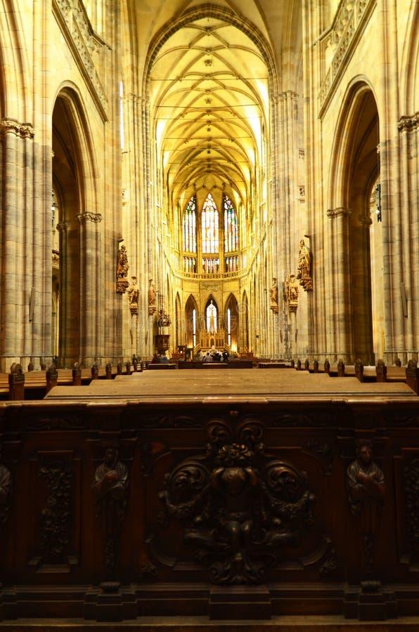 St Vitus Cathedral i Prague, Tjeckien arkivbild