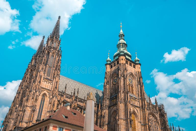St. Vitus Cathedral in Prague in a beautiful summer day royalty free stock images
