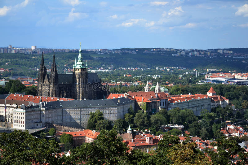St. Vitus Cathedral and Prague castle. According to Guinness Book of Records, the biggest ancient castle, Prague Castle is about 570 meters in length and an stock images